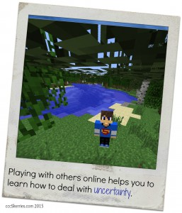 Minecraft player in the woods - uncertainty in games helps learn